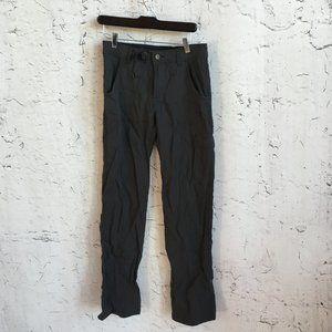PRANA BLACK HIKING PANTS WITH BELT 28 X 34